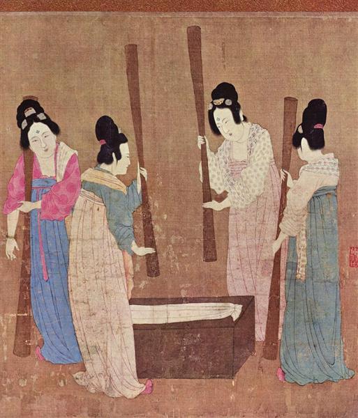 Doamne de la curtea imperială pregătind mătase nou țesută